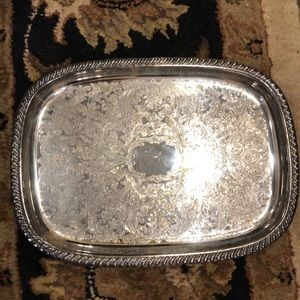 Vintage silver tray with feet